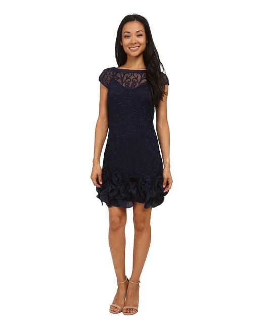 Jessica Simpson | Blue Short Tiered Sleeve Dress With Ruffle At Hem | Lyst