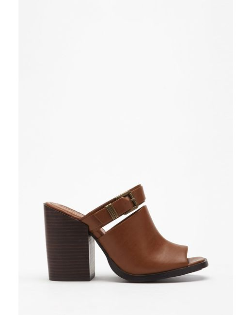Forever 21   Brown Buckled Peep-toe Mules   Lyst