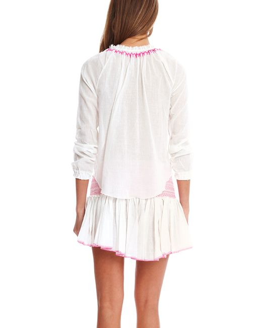 Loveshackfancy bali embroidered peasant top in white