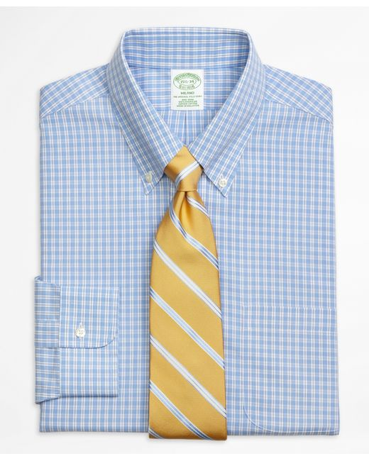 Brooks brothers non iron milano fit twin gingham dress for Gingham dress shirt men