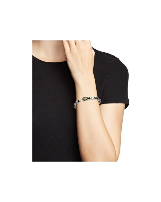 Ippolita | Multicolor Sterling Silver Rock Candy® Mixed Prong And Bezel Bangle In Black Tie | Lyst