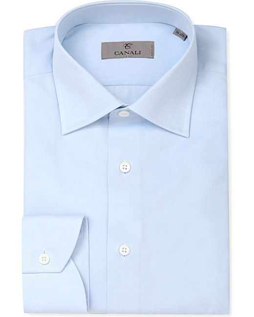 Canali | Blue Modern-fit Cotton-twill Shirt for Men | Lyst