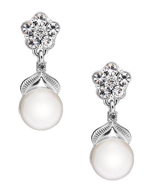 Nadri | Metallic Sparkling Pearl Semi-drop Earrings | Lyst
