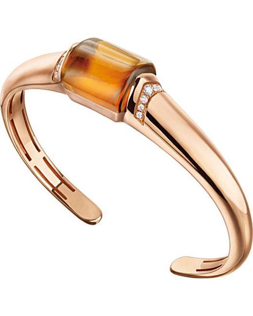 BVLGARI | Mvsa 18kt Pink-gold, Citrine And Diamond Bracelet | Lyst