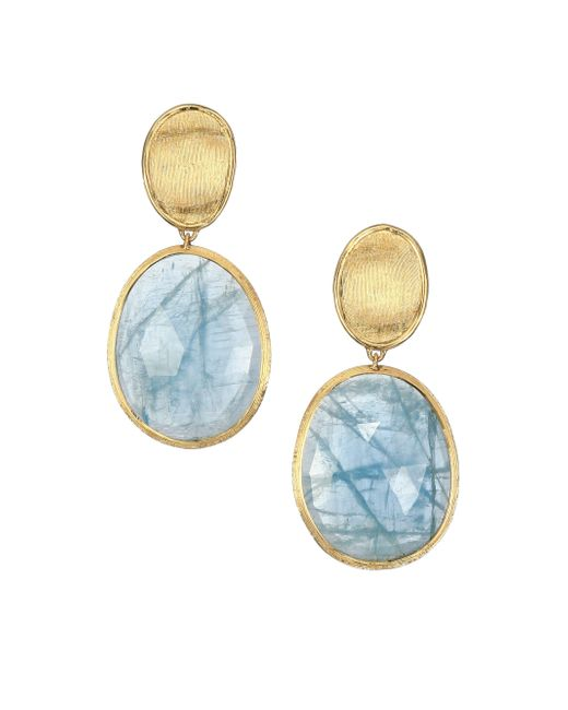 Marco Bicego   Metallic Lunaria Aquamarine & 18k Yellow Gold Small Drop Earrings   Lyst