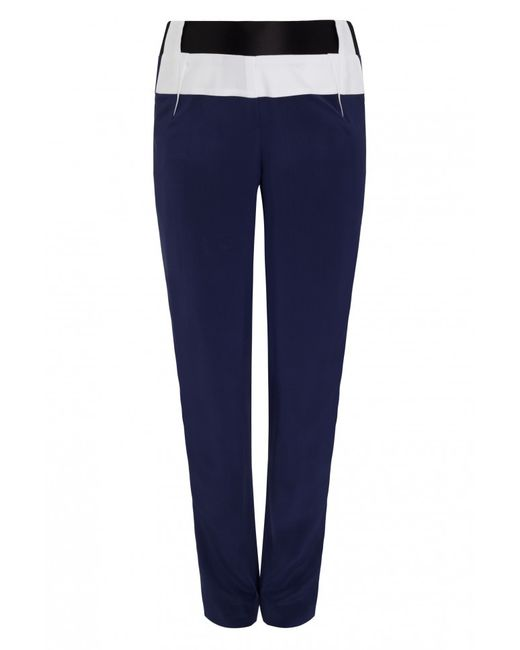 Prabal Gurung | Blue Elastic Waisted Trousers With Contrast Panel | Lyst