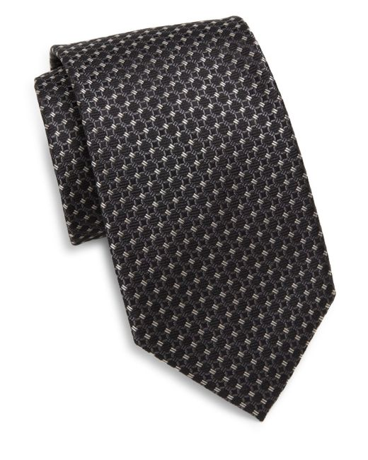 Saks Fifth Avenue | Black Silk Woven Circle Tie for Men | Lyst