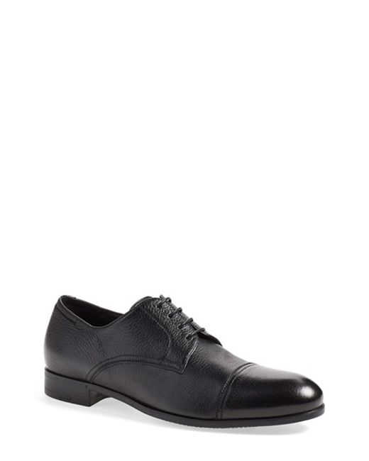 Ermenegildo Zegna | Black 'pistoia' Cap Toe Derby for Men | Lyst
