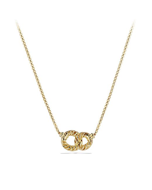 David Yurman | Metallic Double Link Necklace With Diamonds In 18k Gold | Lyst