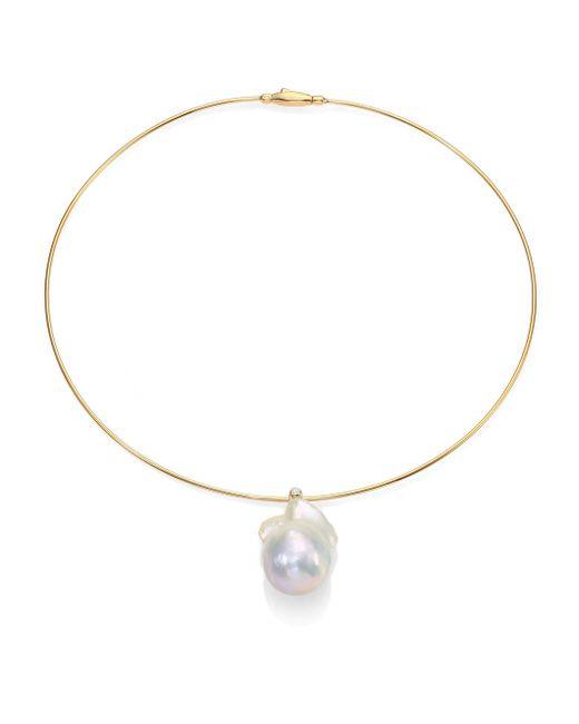 Mizuki | Metallic 27mm White Freshwater Pearl, Diamond & 14k Yellow Gold Collar Necklace | Lyst