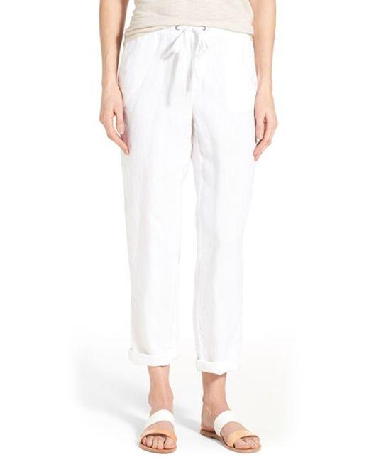 Caslon Caslon Linen Tie Front Crop Pants In White Save