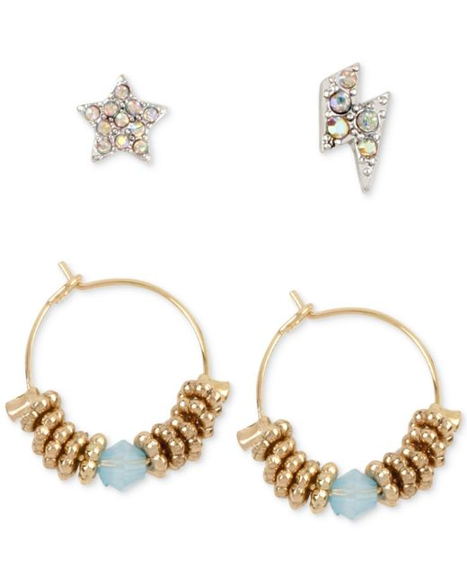 Betsey Johnson | Metallic Crystal Pave Stud And Beaded Hoop Earring Set | Lyst