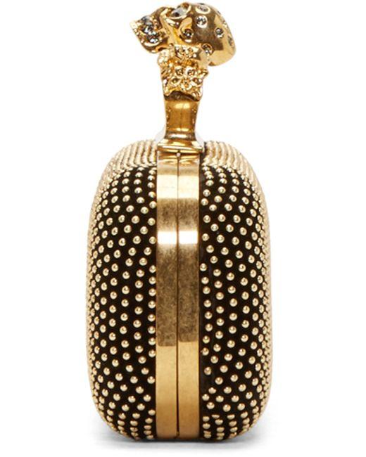 Alexander McQueen | Black Gold Studded Knuckle Box Clutch | Lyst