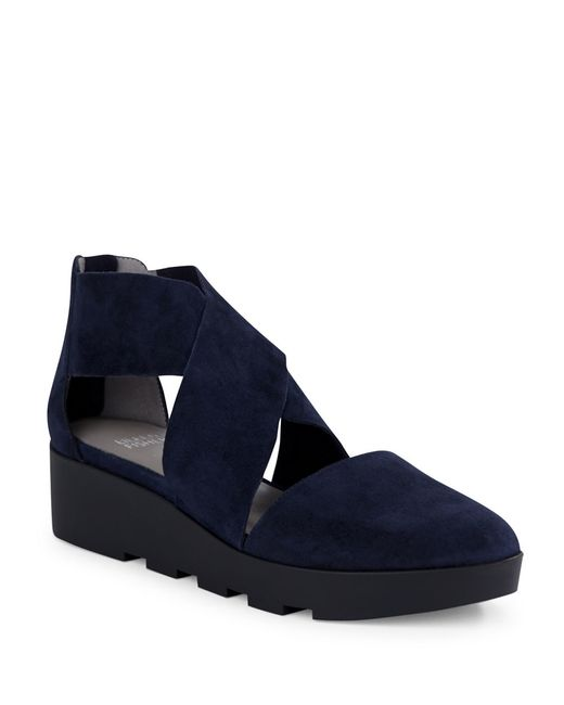 Eileen Fisher | Blue Buoy Suede Platform Wedge Sandals | Lyst