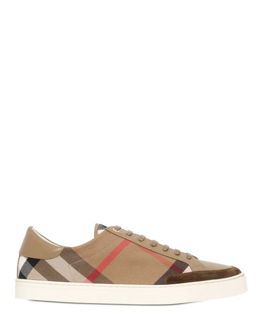 burberry salmond checked canvas sneakers in brown for