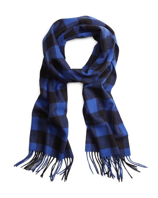 Brooks Brothers | Blue Saxxon Wool Buffalo Check Scarf for Men | Lyst
