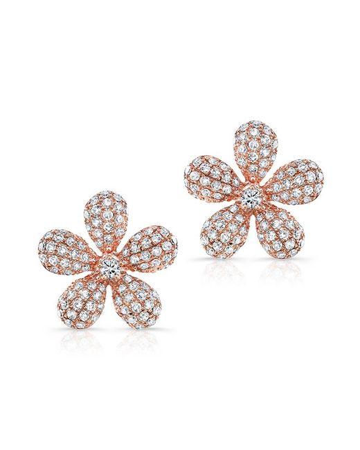 Anne Sisteron   Metallic 14kt Rose Gold Diamond Puffy Daisy Flower Stud Earrings   Lyst