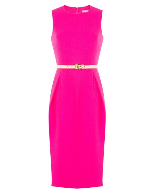 michael kors wool dress with belt pink in pink lyst