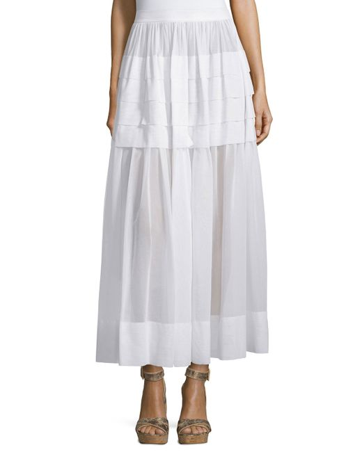 michael kors tiered cotton maxi skirt in white optic