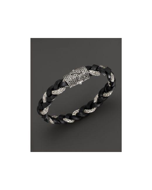 John Hardy | Black Men's Classic Chain Braided Leather Cord Bracelet for Men | Lyst