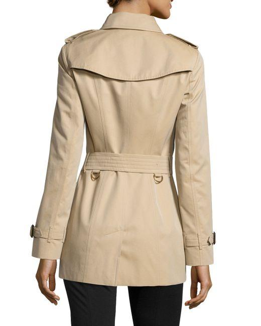 burberry sandringham short woven trenchcoat in beige. Black Bedroom Furniture Sets. Home Design Ideas
