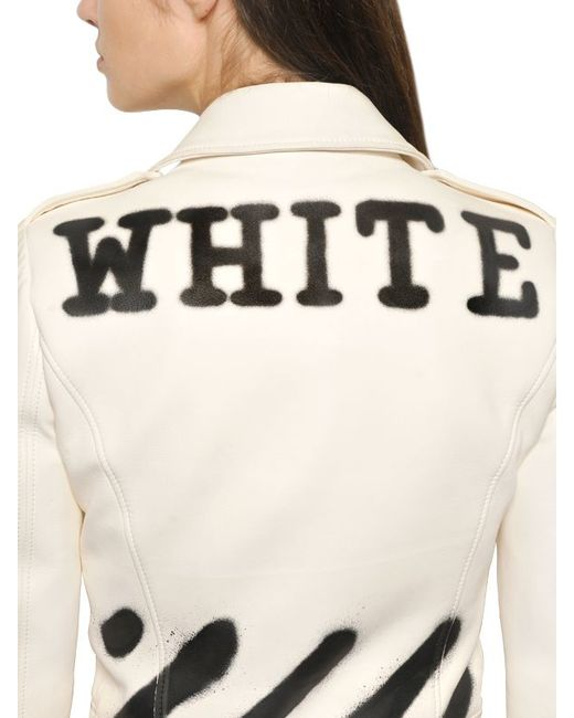 off white c o virgil abloh spray paint print smooth leather jacket in. Black Bedroom Furniture Sets. Home Design Ideas