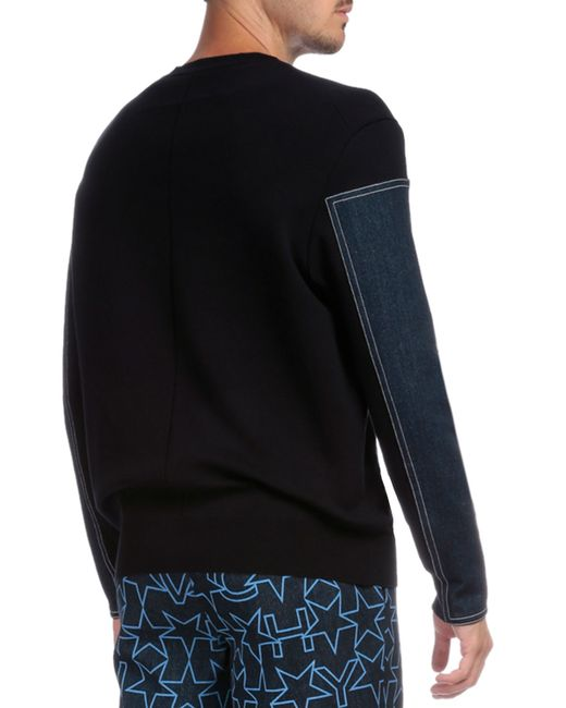 0351932a5e7 Givenchy Crewneck Sweater With Denim Sleeves in Blue for Men