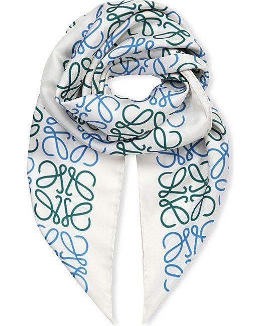Loewe | White Anagram Silk Scarf | Lyst
