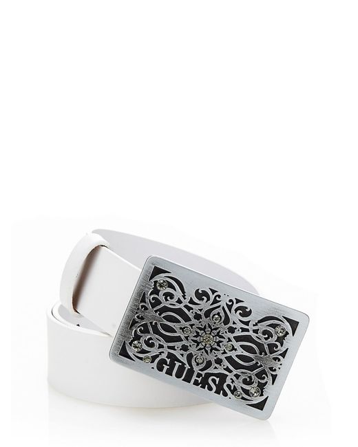 Guess Logo Plate Belt in White