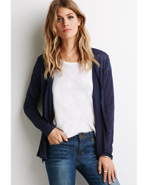 Forever 21   Blue Contemporary Embroidered Mesh Cardigan   Lyst