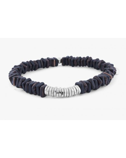 Tateossian | Gray Disc Round Brown Wood Ebony Beaded Bracelet With Silver Spacer Discs for Men | Lyst