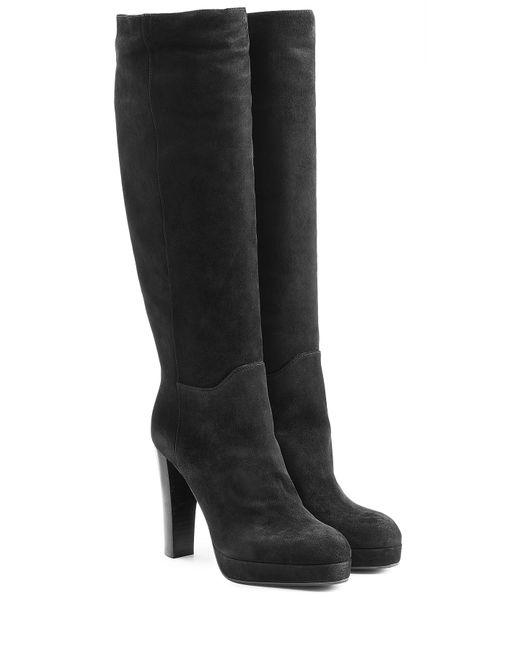 sergio suede knee boots black in black save 51