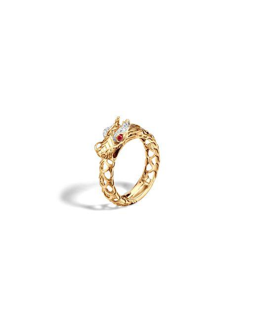 John Hardy | Metallic 18k Gold Naga Diamond Pave Dragon Slim Ring With African Ruby Eyes | Lyst