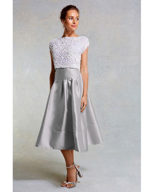 coast ruena midi texture skirt in gray blues lyst