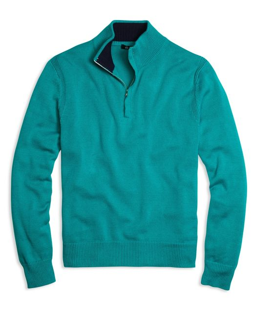 Brooks Brothers | Blue Sea Island Cotton Half-zip Sweater for Men | Lyst