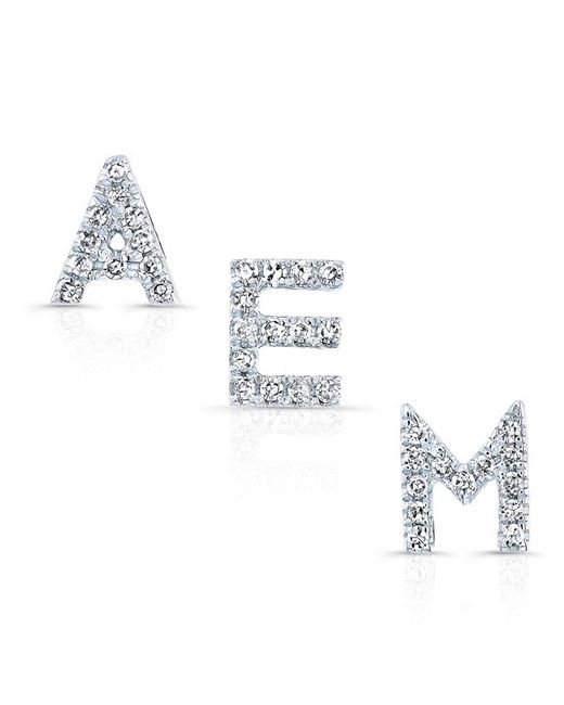 Anne Sisteron | Metallic 14kt White Gold Diamond Initial Stud Earring | Lyst