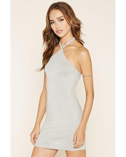 Forever 21 Halter Bodycon Mini Dress in Gray (Heather grey ... - photo #45