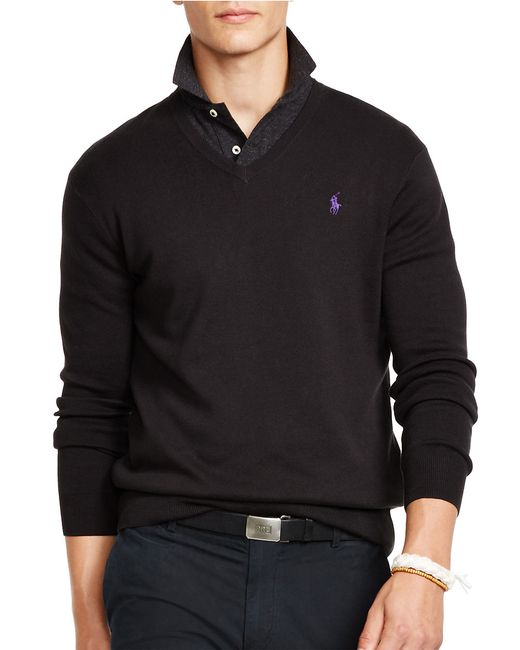 Polo Ralph Lauren | Black Pima V-neck Sweater for Men | Lyst