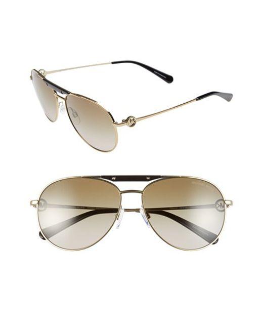 Michael Kors | Metallic 58mm Aviator Sunglasses | Lyst