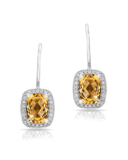 Anne Sisteron | Metallic 14kt White Gold Diamond Citrine Rectangle Earrings | Lyst