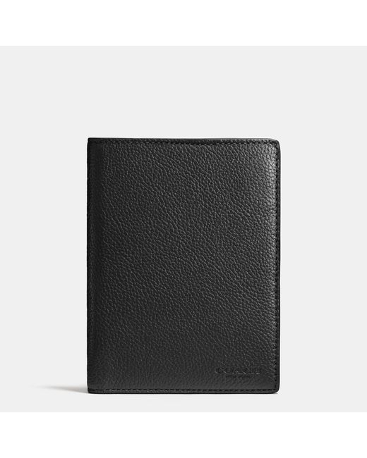 COACH | Black Passport Case In Refined Pebble Leather for Men | Lyst