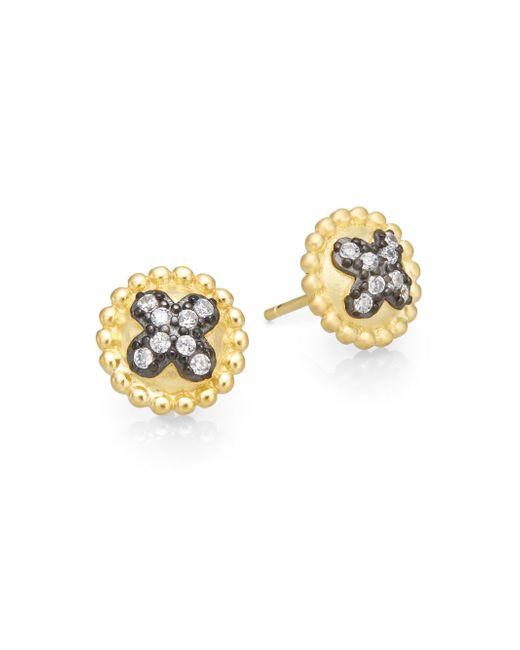 Freida Rothman | Metallic Pavé Clover Button Earrings | Lyst