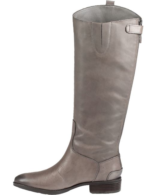 Sam Edelman Penny Leather Riding Boots In Gray Grey Lyst