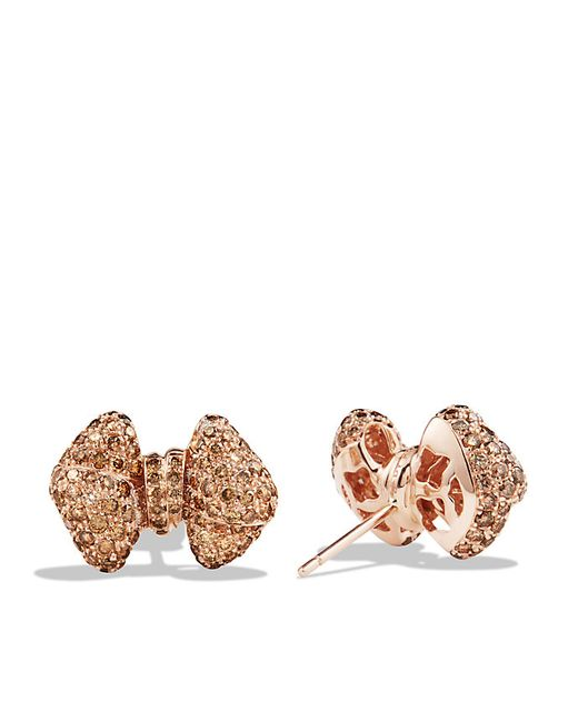 David Yurman   Pink Dy Signature Bow Earrings With Diamonds In 18k Rose Gold   Lyst