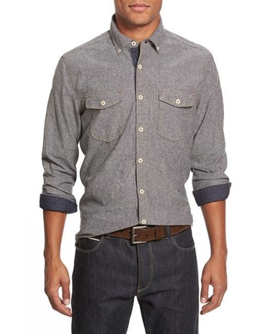 Jeremiah   Gray 'wade' Regular Fit Chambray Sport Shirt for Men   Lyst