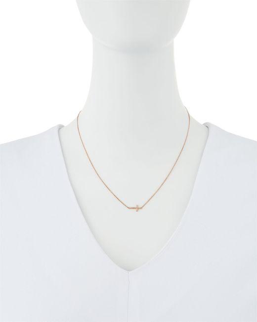 Sydney Evan   Metallic Small 14k Rose Gold Pave Diamond Cross Necklace   Lyst
