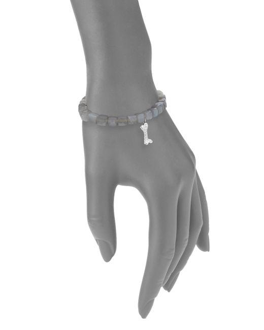 Sydney Evan | Gray Diamond, Grey Moonstone & 14k White Gold Dog Bone Charm Bracelet | Lyst
