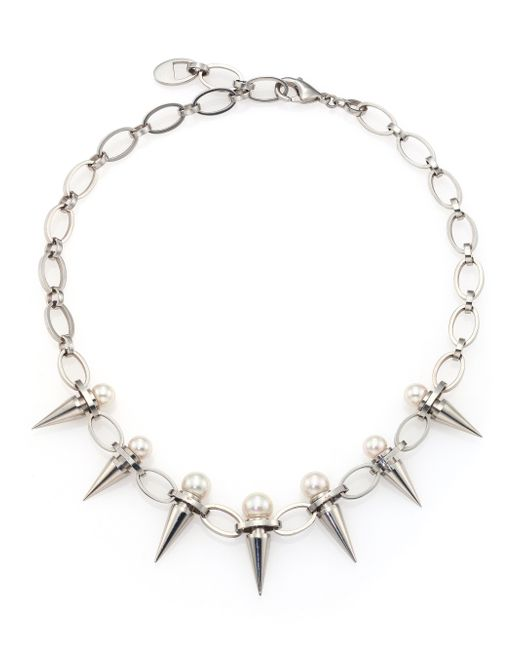 Majorica | Metallic 8mm-10mm White Pearl Spike Chain Necklace | Lyst