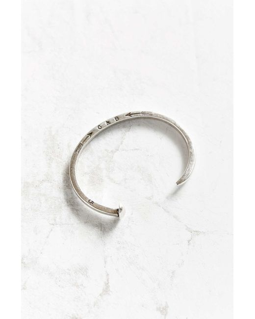 Giles & Brother | Metallic Skinny Railroad Spike Silver Cuff Bracelet | Lyst