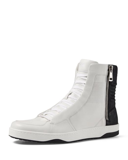 gucci leather high top sneaker with zipper in white wht blk wht save 40 lyst. Black Bedroom Furniture Sets. Home Design Ideas